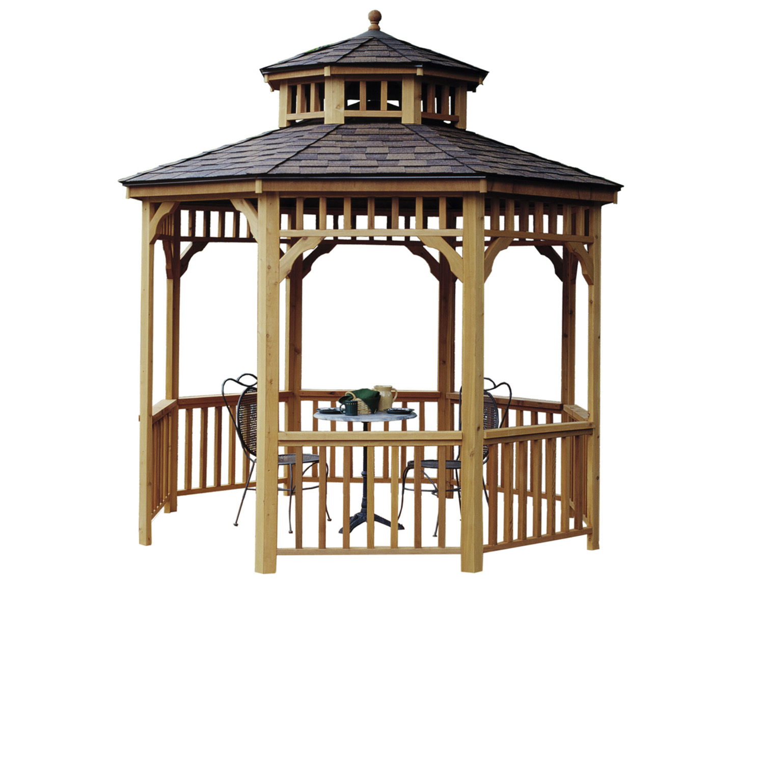 Seaside Round Gazebo 10ft 2 on swing to shed