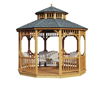 12-ft. Seaside Round Gazebo shown with optional wood floor & two-tier roof.