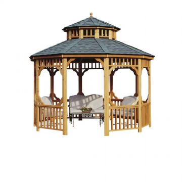 12-ft. Round Seaside Gazebo shown with optional two-tier roof.