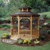 Seaside 10-ft. Round gazebo shown with optional floor and two-tier roof.