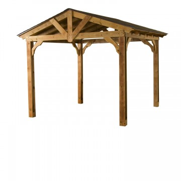 10-ft. x 12-ft. Pasadena Pavilion crafted with factory stained, preserved pine.