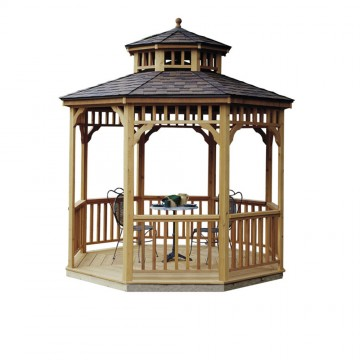 10-ft. Round Seaside Gazebo shown with floor and two-tier roof.