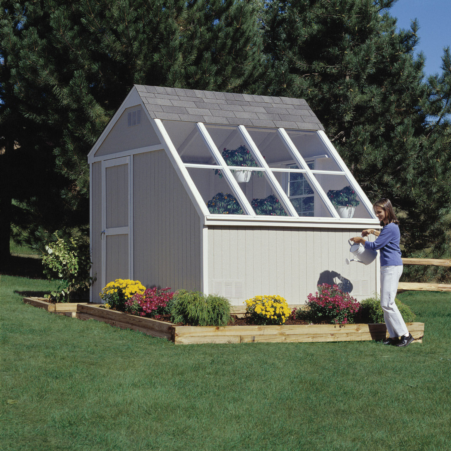 10 ft x 8 ft horizon shown with optional combination cedar bench and large square window - Garden Sheds Madison Wi