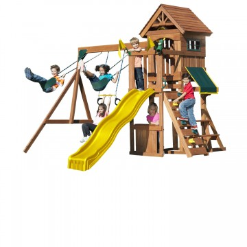 Fort Sentry swing set with kids